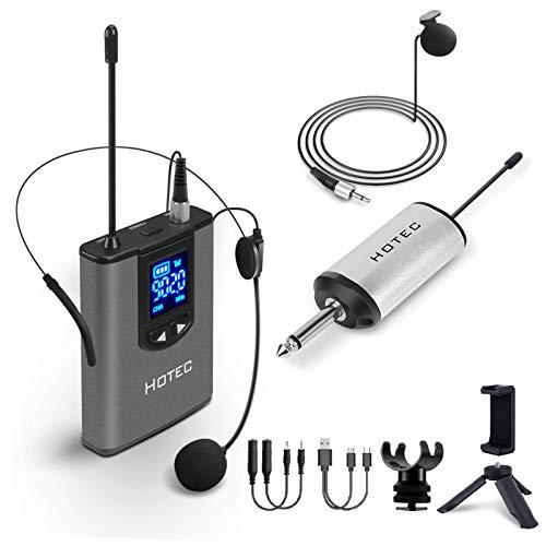 Hotec Wireless UHF Headset Funkmikrofon Lavalier Ansteckmikrofon mit Bodypack-Sender und Mini Tragbarem Empfänger 1/4