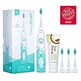 happybrush Elektrische Schallzahnbürste   Elektrische Zahnbürste Schall VIBE 3 Weiß mit Aufsteckbürste, 3 Ersatzbürsten & Zahnpasta für Weiße Zähne