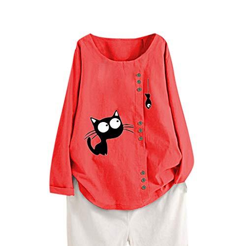 Auifor Casual Tamaño Letra Grande de Manga Larga botón Flojo de Las Mujeres Camiseta de la Tapa Superior