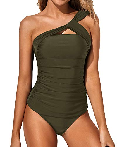 Tempt Me Women Green Tankini Ruched One Shoulder Tummy Control Top with Shorts Two Piece Swimsuits XL