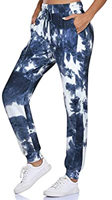 Fulbelle Juniors Sweatpants, Womens Hiking Workout Yoga Pants Training Joggers for Women Casual Drawstring Elastic Waist Cotton Jogger Pajamas Leggings with Pockets Blue Tie-dye S