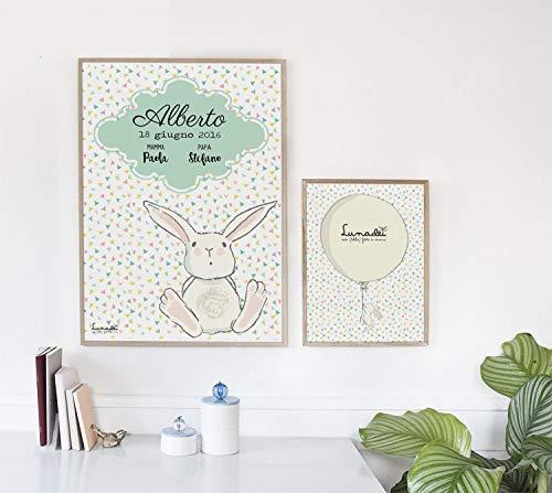 Lamina Personalizable con Nombre, Fecha, Lugar Nacimiento. | Ideal para Habitación del Bebé | Disponible Formato A5/A4 | CON o SIN marco