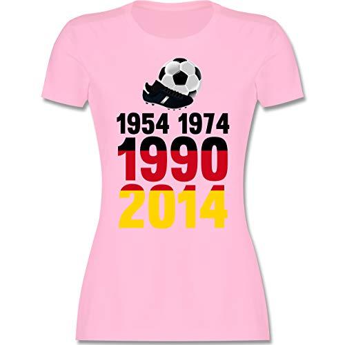 Fußball-Europameisterschaft 2020-1954, 1974, 1990, 2014 - WM 2018 Weltmeister Deutschland - XL - Rosa - Fußball - L191 - Tailliertes Tshirt für Damen und Frauen T-Shirt