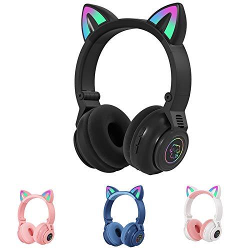 STN-26 RGB Cat Ear Headphones Bluetooth 5.0 Suporte para fone de ouvido sem fio TF Card 3.5mm Plug (preto)
