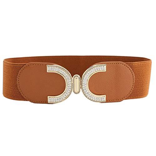 2021 mujeres cristal incrustado faja elástica doble C hebilla vestido cintura cinturón ancho - marrón - 65 cm