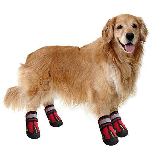 "QUMY Dog Boots Waterproof Shoes for Large Dogs with Reflective Velcro Rugged Anti-Slip Sole Black 4PCS (Size 6: 2.9""x2.5""(LW), Red)"