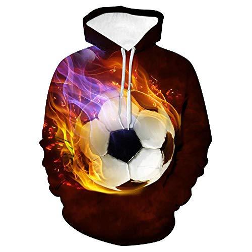 CHWEI Knitted Hat 3D Paare Hoodies Flamme Fußball Tier Sweatshirt Pullover Reißverschluss O Neck Lustige Männer Frauen Erwachsene Pullover Kleidung Mantel M