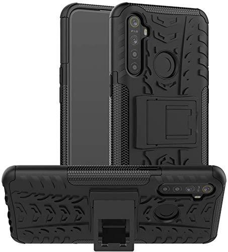 cassby shockproof hybrid kickstand back cover case defender cover for realme 5i – black