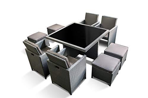 Ragnarök-Möbeldesign PolyRattan – DEUTSCHE Marke – EIGNENE Produktion – 8 Jahre GARANTIE auf UV-Beständigkeit Gartenmöbel Essgruppe Tisch + 4 Stuhl 4 Hocker 12 Polster Platinumsilber Grau - 3