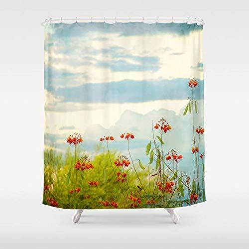 Toll2452 Duschvorhang, rote Blumen, Blumendekor, Heimdekoration, Natur, Wüstenblumen, Kunst, Duschvorhang, grün-blau, Badezimmer-Dekor