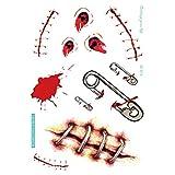 1 Unids Impermeable Halloween Tatuaje Transferencia Pegatinas Terror Herida Realista Cicatrices de Sangre Halloween Props Tatuajes Calcomanías para Arte Corporal, SC-812