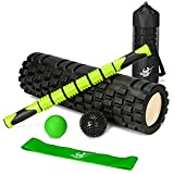 Body Regen Foam Roller Bundle - 6 in 1 Roller Set Includes Foam Roller, Muscle Massage Stick, The Stretch Band(with Logo), Lacrosse Ball, Spikey Ball, and A Carry Case(with Logo) (Green/Black)