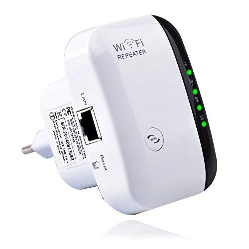 TeamTech WLAN Repeater WLAN Verstärker, WiFi Booster (300Mbit/s 2,4GHz) WiFi Repeater mit LAN Port/WPS Taste/Repeater/AP-Modus WLAN Verstaerker WiFi Signalverstärker kompatibel mit Allen WLAN Geräten