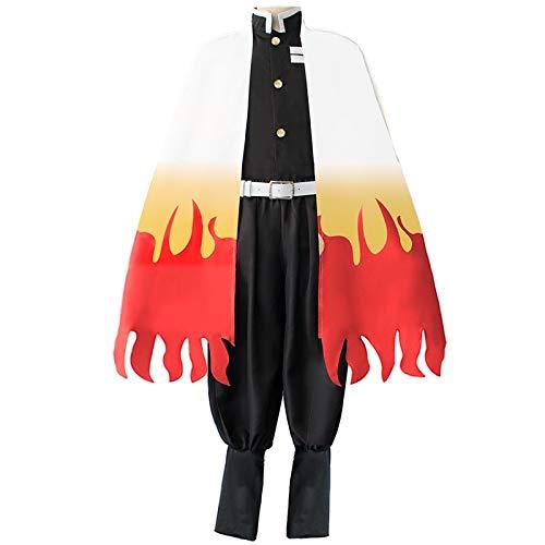 Demon Slayer Kimetsu no Yaiba Rengoku Kyoujurou uniforme de cosplay kimono haori (capa + chaqueta + pantalones + cinturón + putte)