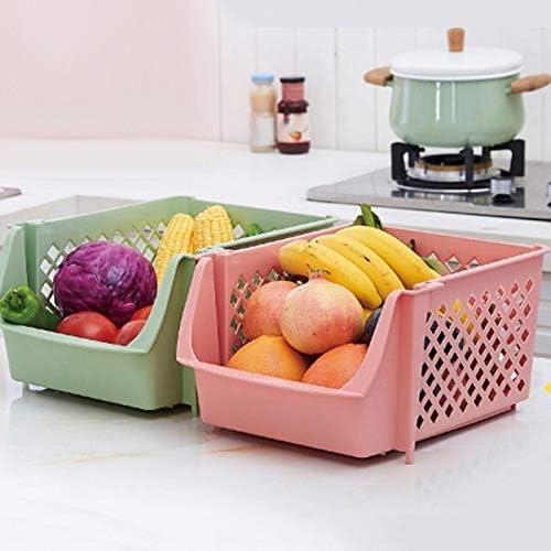 LQNB Panier en Plastique Empilable Panier de Rangement de Cuisine Panier de Rangement en Plastique de Fruits et L/éGumes Support de Rangement en Plastique Rose