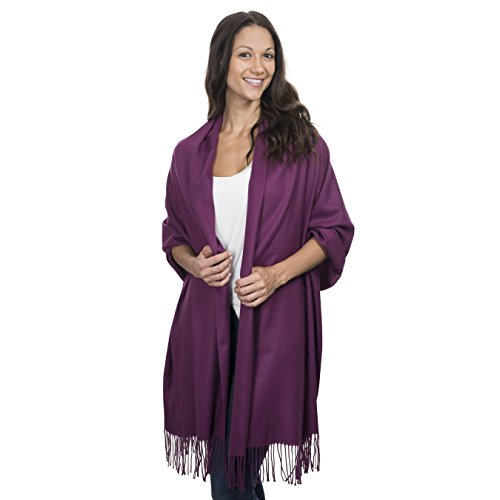 Cashmere & Class Large Soft Cozy Cashmere Pashmina Woven Scarf Wrap Womans Warm Shawl Stole+ Gift Box (plum)