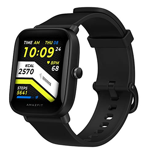 Amazfit Bip U Smartwatch, Fitness, 60 + Sportmodi, 3,6 cm (1,43 Zoll), großer Farb-Touchscreen, 5 ATM GPS, integriertes (SpO2), Blutsauerstoff, Herzfrequenz (schwarz)