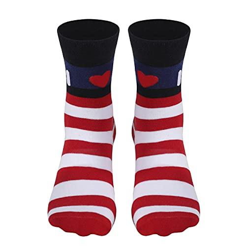 American Flag Socks for Men or Women, Usa Patriotic Socks for Groomsmen and Wedding, Funny Fun Novelty High Socks for Soccer, Zicozy,Color 2