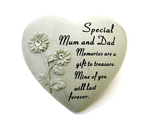 David Fischhoff Special Mum and Dad Diamante Heart Book Memorial Item, Stone, Cream