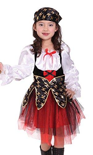 Cloudkids Disfraz de Pirata para Nia Chica - Disfraz de Pirata - con Vestido y paoleta para la Cabeza - Talla L(7-9 Aos)