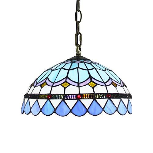 Araña de cristal de estilo tiffany 12 pulgadas de Tiffany colgante Luz mediterránea Mar lámpara estilo moderno azul de la luz pendiente de cristal de montaje for el corredor Dormitorio Oficina Restaur