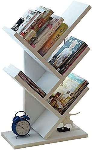 Estantería organizadora de libros sencilla, estantería en forma de árbol, estantería pequeña para almacenamiento de oficina