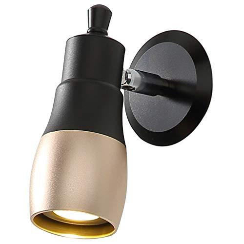 LED applique murale lampe de chevet Ampoule réglable lampe chambre Creative Black + Gold design en aluminium lampe applique murale E27 rétro industrielle spot projecteur salon étude lampe de bureau 7W