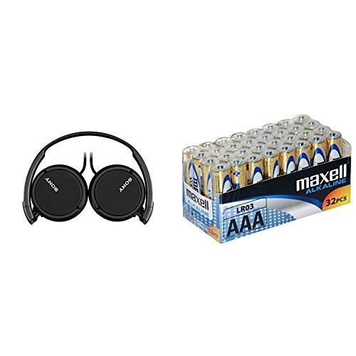 Sony MDR-ZX110 - Auriculares Cerrados, Negro + Maxell LR03 - Pilas AAA, 32 Unidades