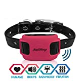 AngelaKerry GPS Wireless Dog Fence System, In-ground/Aboveground Pet Containment System, IP67 Waterproof&Rechargeable Collar, Vibration&Tone Correction, Distance Adjustment 20-800M (Red)