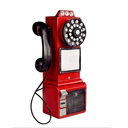 NLQZS-Y American Vintage Industrial Wind Bar Studio Vintage Teléfono Modelo Colgante de Pared Colgante de Pared Rojo