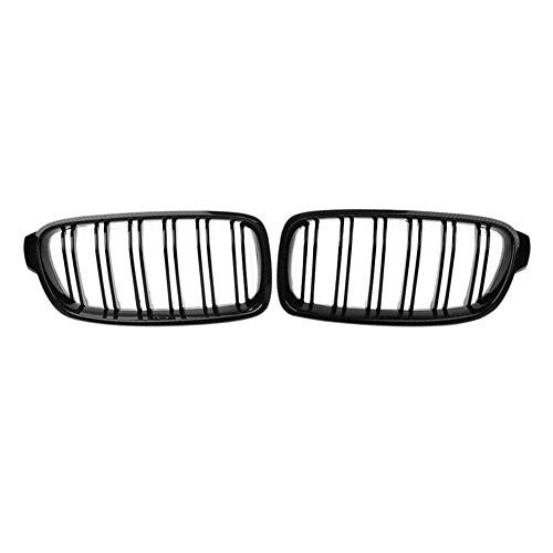 ZHANGJN Nierengrill, echte Kohlenstofffaserfront-Stoßfänger-Bumper-Dual-Linie Nierengrillgitter für-BMW 3-Serie F30 / F31 2012-2018 320i 328i 330i 335i 340i