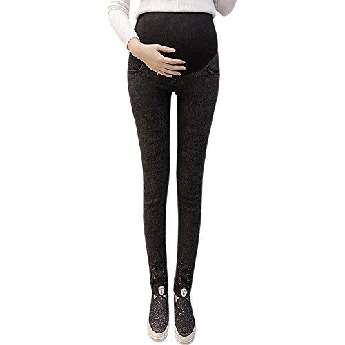 BOZEVON New Automne et Hiver Pantalons pour Femmes Enceintes Leggings Taille Haute en Jeans (Noir,L)