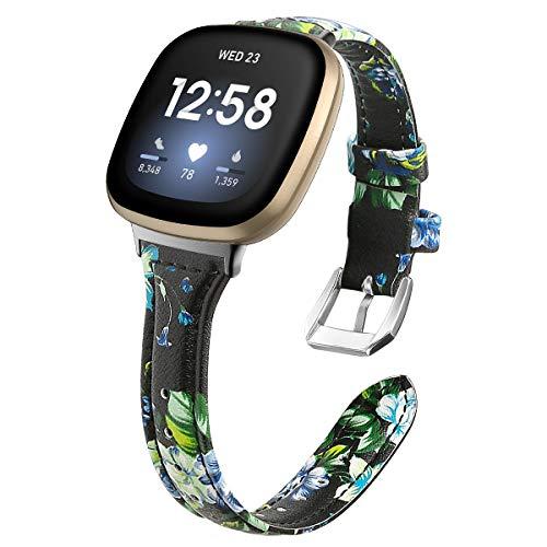Gransho Cinturino per Orologio compatibile con Fitbit Versa 3 / Fitbit Sense, Cinturino in Vera Pelle Cinturino a sgancio rapido per Orologi (Pattern 12)