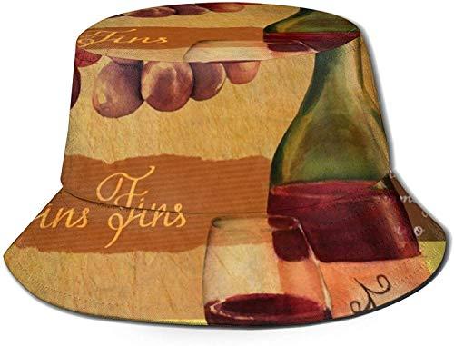 MODORSAN Sombrero de Cubo con Estampado de Copa de Vino Tinto Fino Vintage, Gorra de Pesca para Pescador, para Viajes de Mujer