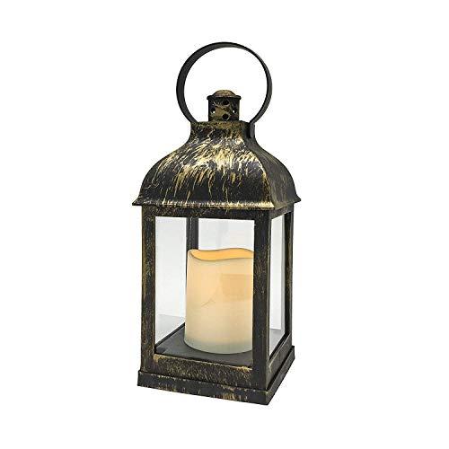 YAKii Linterna LED sin llama con anillo giratorio, luz amarilla, funciona con pilas, acabado de latón, cúpula