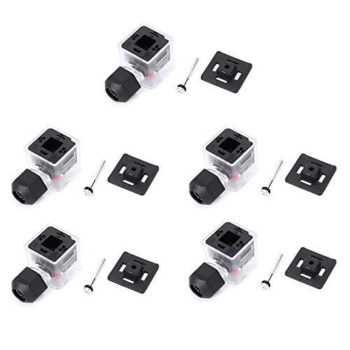 5PCs Magnetspulenstecker, Magnetspulenanschlussbuchse Wasserdicht Staubdicht Transparent Mit Leichtem Gleichstrom ohne Kabel für Magnetventil(12V)