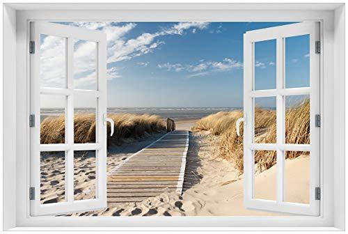 Wallario Acrylglasbild mit Fenster-Illusion: Motiv Auf dem Holzweg zum Strand - 60 x 90 cm mit Fensterrahmen in Premium-Qualität: Brillante Farben, freischwebende Optik
