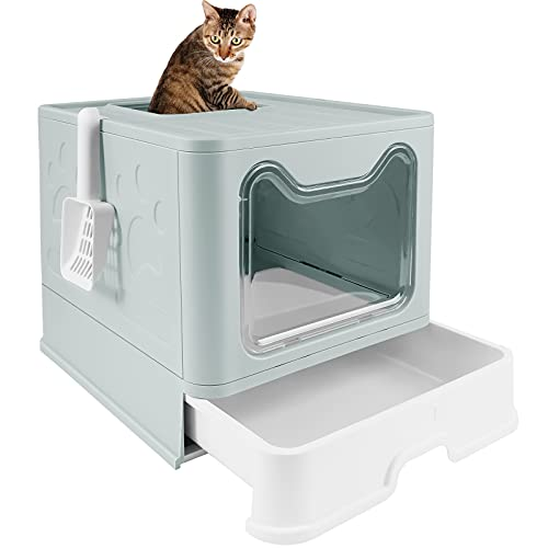 voopet Foldable Cat Litter Box with Lid, Large Cat Litter Pan Drawer Type Cat Potty with Cat Litter Scoop Easy to Scoop & Anti-Splashing, 20' L x 16' W x 15' H