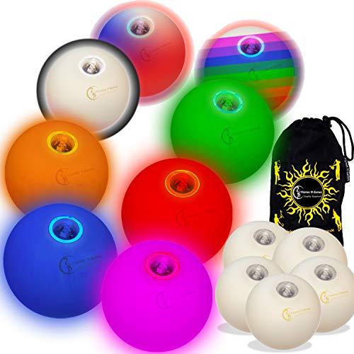 Flames 'N Games 5X Glow jonglierbälle Leuchtend, Led jonglierbälle - Profi LED bälle+ Reisetasche! (Mischen)