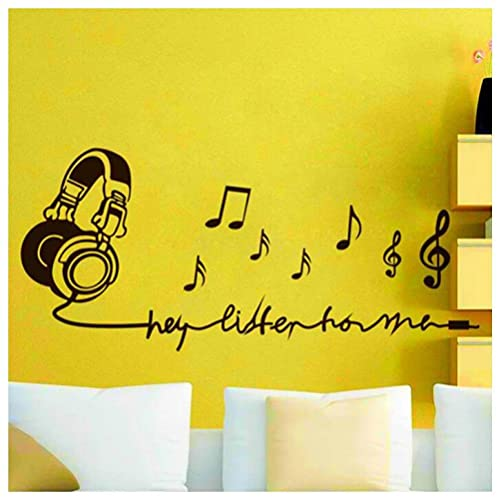 Póster Adhesivos Pared Desmontable Delicados Papel Tapiz Personalidad Creativo Auricular Texto Etiquetas De Pared Dormitorio Decoración De La Sala De Música 54X128cm