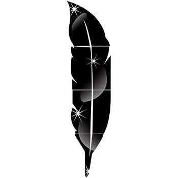 Vosarea 1PC Utile Pratico Durevole Moda Bellissimo Specchio a forma di piuma Specchio Specchio stereoscopico Forniture per la famiglia Specchio per bastone a parete