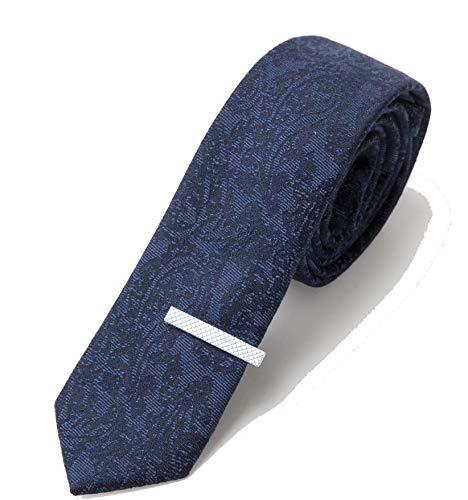 Elzama Men 2.4 Inches Woolen Necktie Skinny Cashmere Like Wool Ties With Tie Clip Gift Set