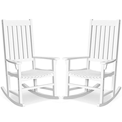 Set of 2 Wood Rocking Chair Porch Rocker High Back Garden Seat Indoor Outdoor, Wihte