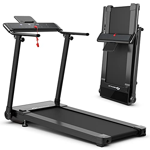 Goplus Folding Treadmill, Portable Electric Treadmill with LED Touch Screen, 12 Preset Programs, 2 Modes and Phone/Pad Holder, Compact Walking Jogging Running Machine for Home Apartment Gym Office