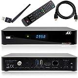 Receptor de satélite AX HD60 4K UHD 2160p E2 Linux 1xDVB-S2X con cable HDMI [preprogramado para Astra & Hotbird] Incluye Anadol® WLAN Stick