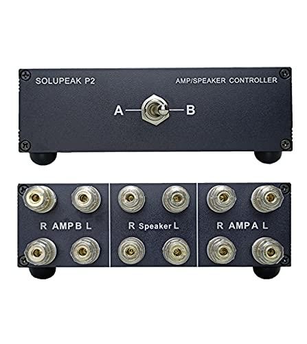 SOLUPEAK P2 2(1)-in-1(2)-Out Amp Amplifier Speaker Switcher Selector Switch Splitter 2-Way Loudspeaker Control Combiner Box