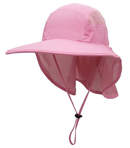 GG ST Sonnenhut Herren Damen UPF 50+ Outdoor UV Summer Cap mit Nackenschutz Hiking Fischerhut Strand Faltbar Safari Buschhüte Mesh Hat (Pink)
