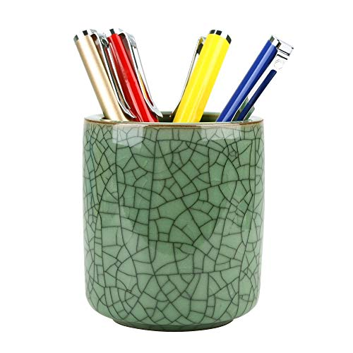 Amoysanli Ceramic Pen and Pencil Holder, Cup Pen Holder, Desk Organizer and Makeup Brush Holder for Office, School and Home(Olive Green(Wire))