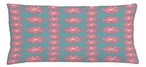 ABAKUHAUS Outdoor Throw Pillow Cushion Cover, Germinating Plants Wildflowers Twigs Sprouts Buds Lively Rustic Patio Print, Decorative Square Accent Pillow Case, 36 X 16 Inches, Teal Pink White