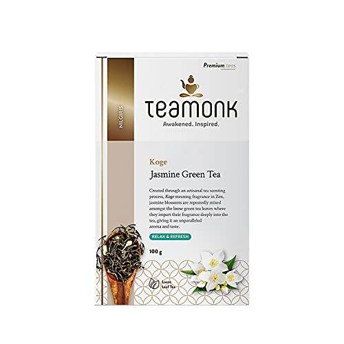 Teamonk Nilgiri Jasmine Green Tea for Weight Loss, (50 Cups) | 100% Natural Loose Leaf Tea with Natural Jasmine Buds | Koge Jasmine Green Tea for Weight Loss | No Additives, 100 g